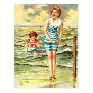 Vintage que baña bellezas postales