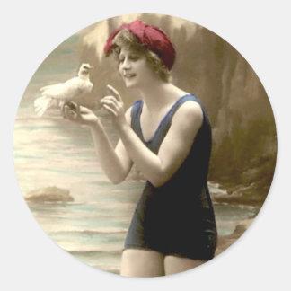 Vintage que baña la belleza - pegatinas pegatina redonda