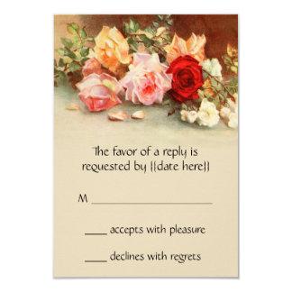 """Vintage que casa RSVP, flores antiguas de los Invitación 3.5"""" X 5"""""""