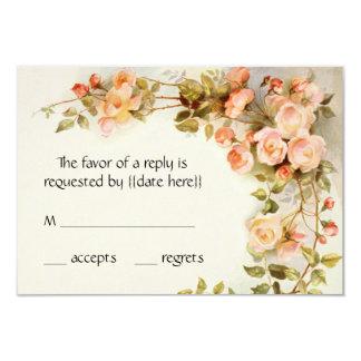 """Vintage que casa RSVP, flores rosadas antiguas de Invitación 3.5"""" X 5"""""""