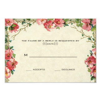 """Vintage que casa RSVP, rosas rosados de las flores Invitación 3.5"""" X 5"""""""