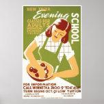 Vintage que cocina el poster de WPA de la escuela