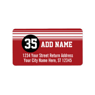 Vintage que compite con rayas - rojo y negro etiqueta de dirección
