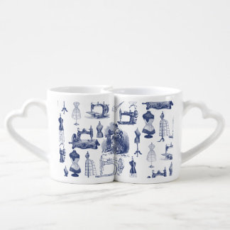 Vintage que cose Toile Set De Tazas De Café