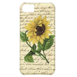 Vintage que escribe el girasol excelente elegante  funda para iPhone 5C