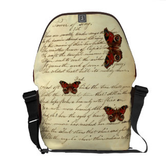 Vintage que escribe mariposas excelentes elegantes bolsas de mensajeria