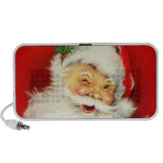 Vintage que guiña a Papá Noel alegre - locutores d Mini Altavoz