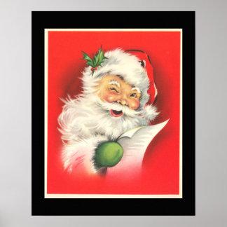 Vintage que guiña a Papá Noel alegre - poster