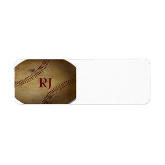 Vintage que mira béisbol con el monograma de encar etiqueta de remite