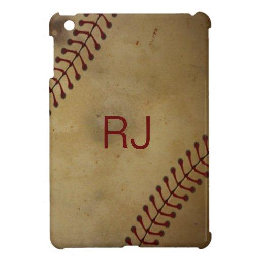 Vintage que mira béisbol con Monogra de encargo iPad Mini Carcasas