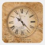 Vintage que mira el reloj del diseño con caligraph colcomanias cuadradas personalizadas