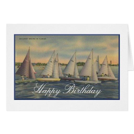 Vintage que navega la tarjeta del feliz cumpleaños