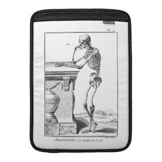 Vintage que piensa la anatomía médica esquelética fundas para macbook air