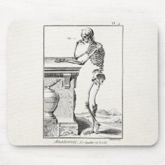 Vintage que piensa la anatomía médica esquelética tapetes de ratones