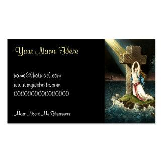 Vintage que se aferra en Cristo la roca en la fe 1 Tarjeta De Negocio