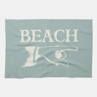 Vintage que señala la muestra de la playa toalla de cocina