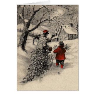 Vintage que trae a casa la tarjeta del árbol de na