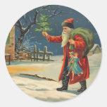 Vintage que visita a los pegatinas de Papá Noel