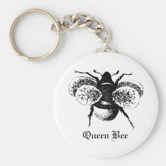 Vintage Queen Bee Basic Round Button Keychain