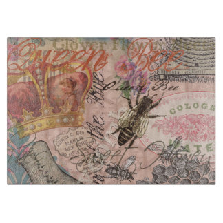 Vintage Queen Bee Beautiful Girly Art Print Cutting Board