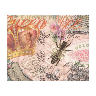 Vintage Queen Bee Beautiful Girly Collage Gallery Wrap Canvas