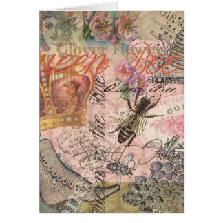 Vintage Queen Bee Beautiful Girly Collage Card