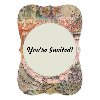 """Vintage Queen Bee Beautiful Girly Collage 5"""" X 7"""" Invitation Card"""