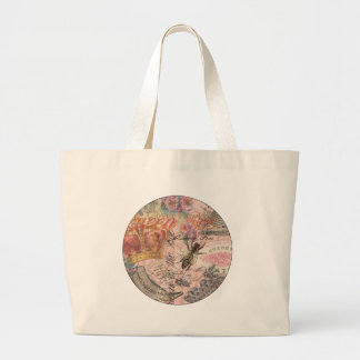 Vintage Queen Bee Beautiful Girly Collage Large Tote Bag