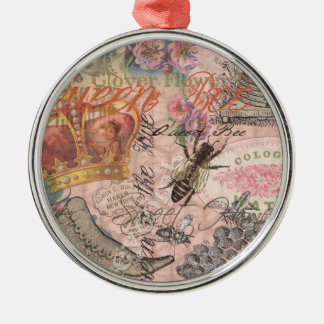 Vintage Queen Bee Beautiful Girly Collage Metal Ornament