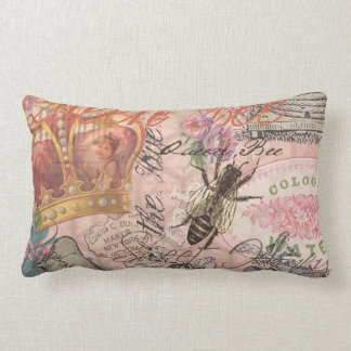 Vintage Queen Bee Beautiful Girly Collage Pillow
