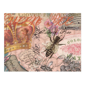 Vintage Queen Bee Beautiful Girly Collage Post Cards