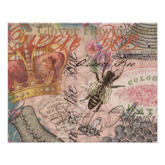 Vintage Queen Bee Beautiful Girly Collage Poster