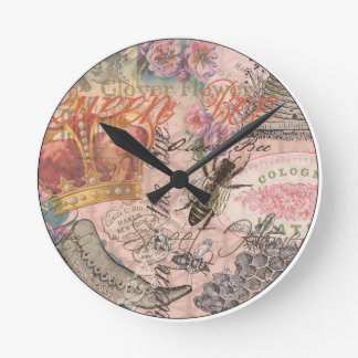 Vintage Queen Bee Beautiful Girly Collage Round Clock