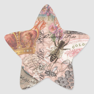 Vintage Queen Bee Beautiful Girly Collage Star Sticker