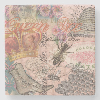 Vintage Queen Bee Beautiful Girly Collage Stone Coaster
