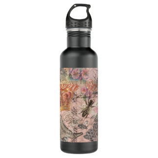 Vintage Queen Bee Beautiful Girly Collage Water Bottle