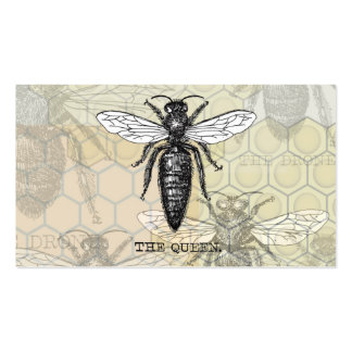 Vintage Queen Bee Illustration Business Cards