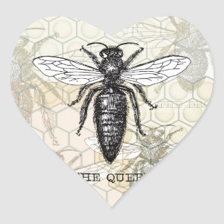 Vintage Queen Bee Illustration Heart Sticker