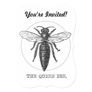Vintage Queen Bee Illustration 5x7 Paper Invitation Card