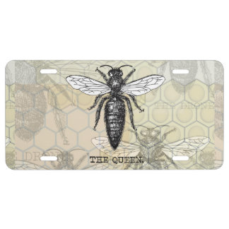 Vintage Queen Bee Illustration License Plate
