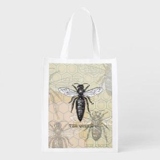 Vintage Queen Bee Illustration Market Totes