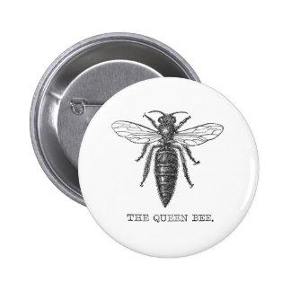 Vintage Queen Bee Illustration Pinback Button