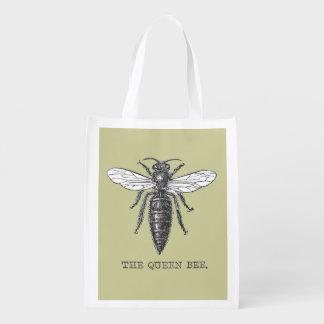 Vintage Queen Bee Illustration Reusable Grocery Bags