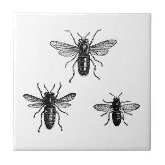 Vintage Queen Bee & Working Bees Illustration Ceramic Tile