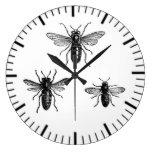 Vintage Queen Bee & Working Bees Illustration Wall Clock