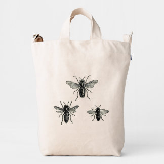 Vintage Queen Bee & Working Bees Illustration Duck Bag
