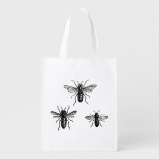Vintage Queen Bee & Working Bees Illustration Grocery Bag