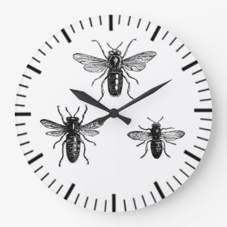 Vintage Queen Bee & Working Bees Illustration Large Clock