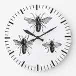 Vintage Queen Bee & Working Bees Illustration Wall Clocks