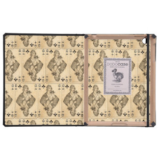 Vintage Queen Clubs PLaying Cards Collage Cover For iPad